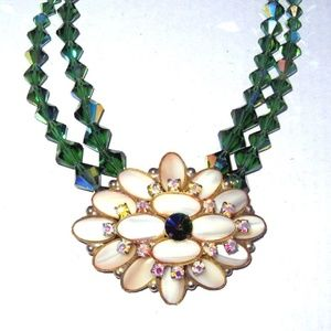 Vintage Mother Of Pearl and Green Crystal Necklace